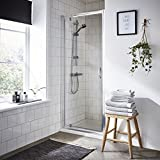 VeeBath Fenwick Modern 760mm Pivot Shower Door Hinged Reversible Bathroom Outward Opening Shower Doors Bathroom Glass Cubicle