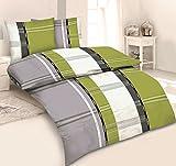 3tlg Winter Bettwäsche Set Fleece Microfaser Übergröße 200 x 220 cm + 80 x 80 cm NEU Streifen Weiß Grau Grün