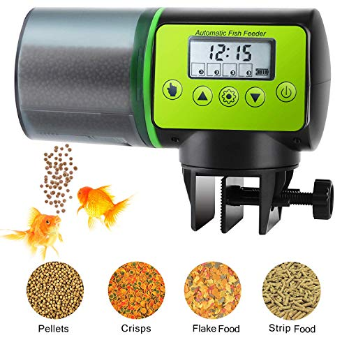Podazz Mangeoire Automatique pour Poissons d'aquarium, Anti-humidité, Distributeur de Nourriture pour Poissons électrique