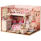 Webby Wooden DIY Little Princess Miniature Doll House with Lights, Pink