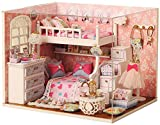 #4: Webby Wooden DIY Little Princess Miniature Doll House with Lights, Pink