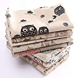 #4: Generic 12 : 1 Piece Hot Sale Sewing DIY Cloth Multi Pattern Retro Printing Pattern Natural Cotton Linen Fabric Quilting Patchwork Optional 78X51CM