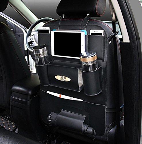 Brinny 2 Stück Auto-Rückenlehnenschutz Trittschutz mit Rücksitz-Organizer Rücksitzschoner Kick-Matten-Schutz für den Autositz mit iPad-Tablet-Halter wasserdichte - Schwarz