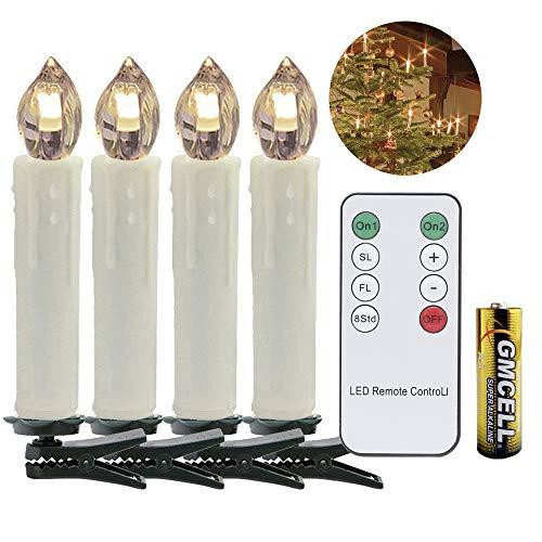 VINGO 40 Set LED Weihnachtskerzen LED Kerzen mit Batterien Weihnachtsdeko Warmweiss kabellos Lichterkette mit Fernbedienung Kabellos Flammenlose Wasserdichte Dimmbar LED Baumkerzen Elfenbein