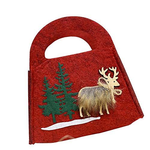 TARTIERY Weihnachtsferienzeit Party Geschenk Taschen Kunsthandwerk Projekte Korb Tragbare Santa Apple Geschenk Tasche Hochzeit Süßigkeiten Einkaufstasche Für Party Wohnkultur (Apple-geschenk-korb)