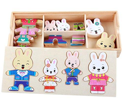 Spiele Dressup Familie (Holz Spielzeug Bunnies Familie Dress Up Spiel in Aufbewahrungsbox von Babyhugs)