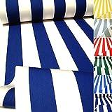 TOLKO Sonnenschutz Classic Markisen-Stoff Meterware zum Nähen mit UV-Schutz 50+ | Wasserdicht, Extra Langlebig - ohne Ausbleichen, 120cm Breite (Marineblau-Weiß)