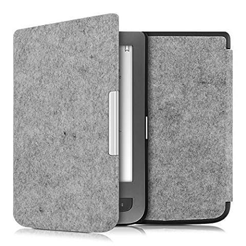 kwmobile Housse Flip pour Pocketbook Touch Lux 3 / Touch Lux 2 / Basic Lux / Basic 3 / Basic Touch 2 - Housse de protection pour E-Book avec motif Design Feutre en gris clair