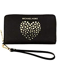 d0d8778a9d Michael Kors New Womens Black Leather Heart MK Purse (Phone Wallet) Gift  Boxed