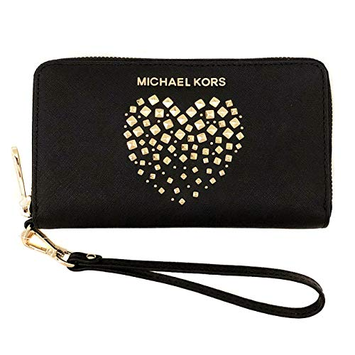 3313f7bf95 Michael Kors New Womens Black Leather Heart MK Purse (Phone Wallet) Gift  Boxed