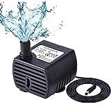 eecoo Pompe à Eau pour Animaux de Compagnie Ultra Silencieuse (150L / H, 2W), Mini Pompe à Eau à Courant Continu avec 1,5m de Hauteur et 6ft de Cordon d'alimentation pour Aquarium D'étang de Fontaine