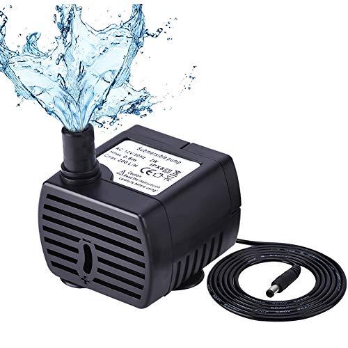 Pompe à Eau pour Animaux de Compagnie Ultra Silencieuse (150L / H, 2W), Mini Pompe à Eau à Courant Continu avec 1,5m de Hauteur et 6ft de Cordon d'alimentation pour Aquarium D'étang de Fonta