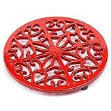 Salvamanteles de hierro fundido, protector de encimera multiusos, duradero, 20 cm de diámetro, 10 años de garantía rosso