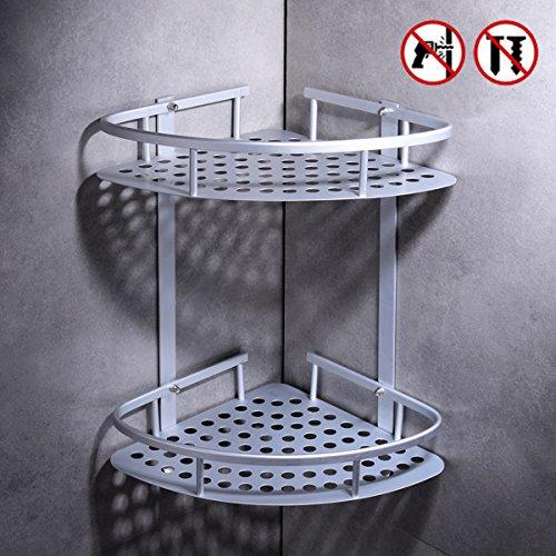 Aerobath mensole bagno senza foratura, mensola doccia angolare a due livelli in alluminio,  mensola ad angolo stoccaggio portaoggetti da bagno