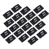 eBoot Clips de Cable Auto-adhesivo Abrazadera de Cable Organizador, Negro, 20 Piezas