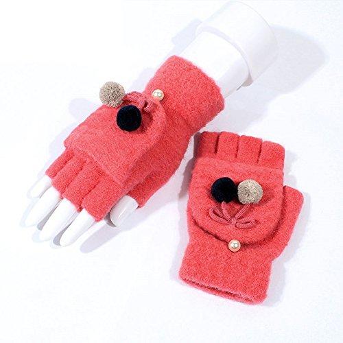 cartoon - handschuh dame im winter zeigen finger verdickung, warm - stricken pullover, semi - finger.,rose red (Weiß Cartoon-handschuhe)