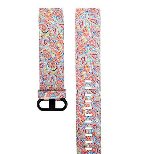 Upxiang Ersatz Uhrenarmband Mode Armband Silikon Damen Bedrucktes Band Armband für Fitbit Charge 3 (L)