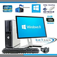 """Windows 8 - Dell OptiPlex Computer Tower with Large 19"""" LCD TFT Flat Panel Monitor - FREE One Year Extended Warranty - Powerful Intel Core 2 Duo CPU - Massive 500GB Hard Drive - 8GB RAM - DVD - Wireless N 300Mbps Internet Ready - Keyboard & Mouse - Genuine NEW Windows 8 COA (Certificate of Authenticity)"""