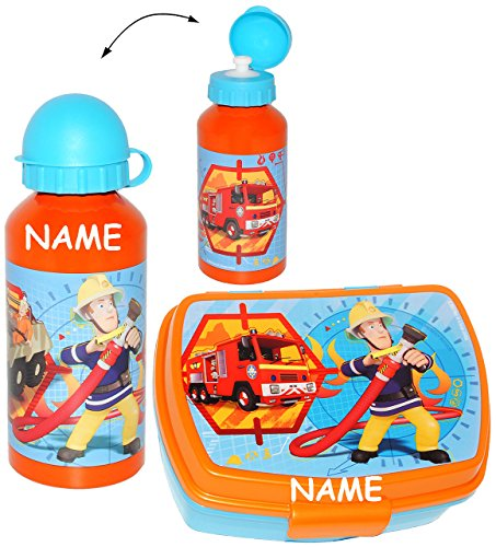 alles-meine.de GmbH 2 TLG. Set _ Lunchbox / Brotdose & Trinkflasche -  Feuerwehrmann Sam  - incl. Name - großes Fach - Brotbüchse Küche Essen - für Jungen - Feuerwehr / Rettung..