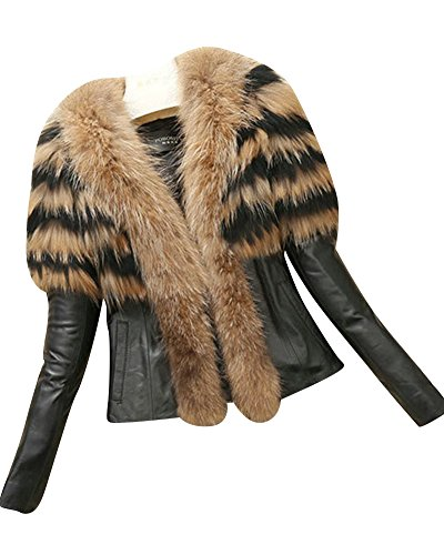 Donna elegante corte pelle giacca corto cappotto con tasca maniche lunghe giallo 3xl