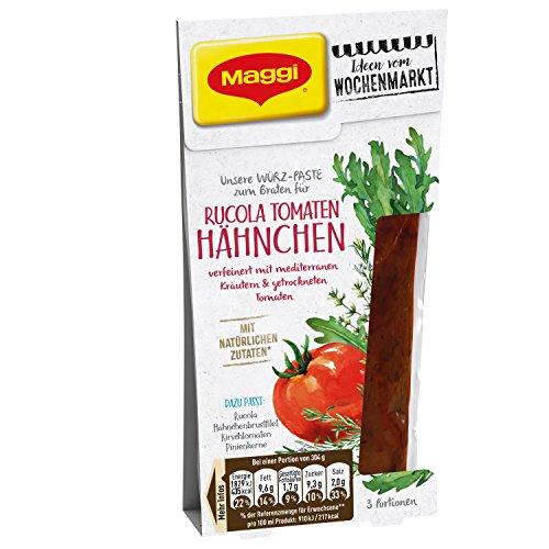 Maggi Ideen vom Wochenmarkt Rucola Tomaten Hähnchen (italienische Würzpaste zum Braten, für mediterrane Gerichte, 3 Portionen) 1er Pack (1 x 84ml)