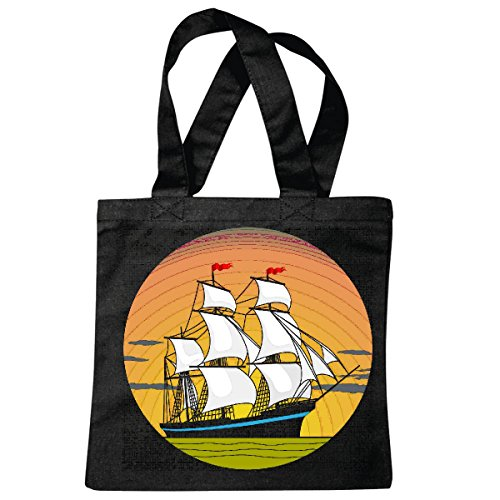 sac à bandoulière VOILIER FOUR MASTER BUCCANEER WOOD SHIP ANCRE SKULL PIRATE VOILIER VOILIER DIRECTION SKULL PIRATE SAILING Collektion SKULL CANCER DE DIRECTION BUCCANEER Segelschiff Sac école Turnb