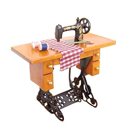 Vintage máquina de coser Muebles de casa de muñecas de madera en min
