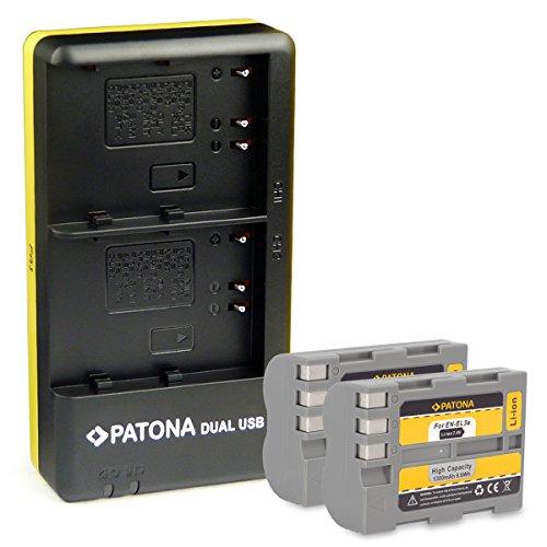 PATONA Dual Caricabatteria + 2x Batteria EN-EL3E per Nikon D700 D300 D200 D100 D90 D80 D70 D50 con Micro USB