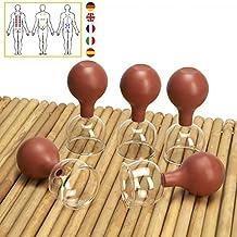 Lunata® Juego de 5 ventosas con bola de succión, Ø 38, ventosa anti-celulitis, ventosa de masaje, ventosas para un masaje por ventosas profesional