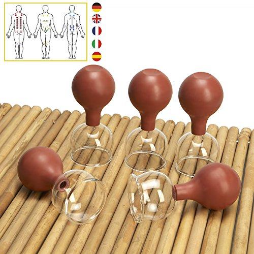 Lunata [Upgrade 2019] 5er Schröpfglas Set mit Saugball, 60 mm, Schröpfgläser für eine professionelle Schröpfmassage um Verspannungen lösen und Schmerzen lindern