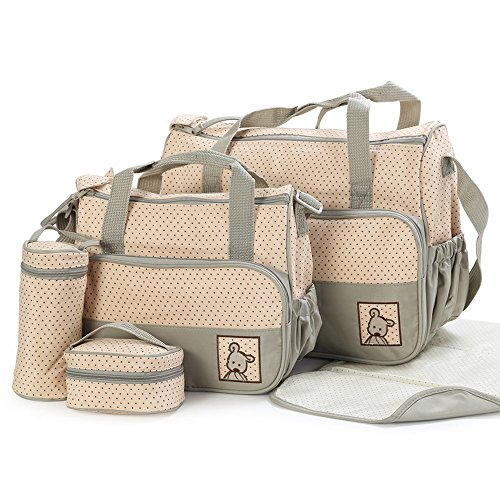 Joymoze Klassisches 5-teiliges Set Windeltaschen modisch multifunktionell Mama Tasche Dunkelblau 818 Khaki