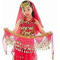 Calcifer - Cinturón de Gasa con Lentejuelas para Danza del Vientre con Falda de Danza de la India, Rojo Rosa