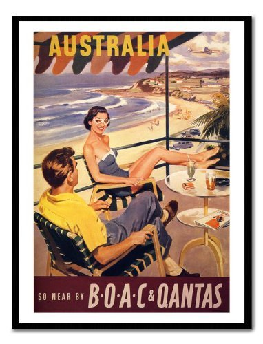 australia-quantas-air-travel-poster-print-magnetic-memo-board-black-framed-41-x-31-cms-approx-16-x-1