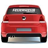 malango® Feuerwehr Schriftzug mit Wunschort (klein) Autoaufkleber Autosticker Aufkleber Sticker Heckscheibe 30 x 5 cm weiß