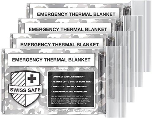 Swiss Safe Thermo-Decken für Notfall, Mylar, 4 Stück, mit Goldfolie, für NASA, Outdoor, Wandern, Survival, Marathons oder Erste Hilfe, Winter Camo -