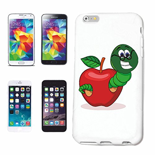 Handyhülle iPhone 7 'LACHENDER WURM MIT BRILLE IM APFEL REGENWURM BANDWURM KOMPOSTWURM TAUWURM RIESEN ROTWURM LUMBRICUS' Hardcase Schutzhülle Handycover Smart Cover für Apple iPhone in Weiß