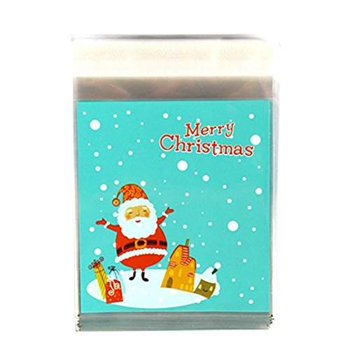 Youkara 100pcs christmas treat bags self adhesive cookie bags bakery candy treat gift diy borse natale candy bags storage bag party gift