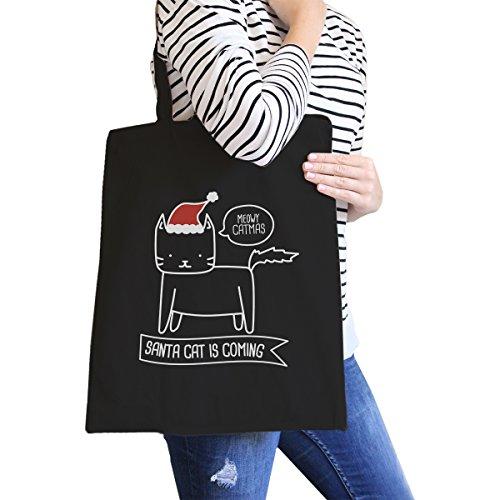 365 Printing inc , Borsa da spiaggia  Donna Merry Corgmas Corgi - Black Misura unica Meowy Catmas Santa Cat Is Coming - Black