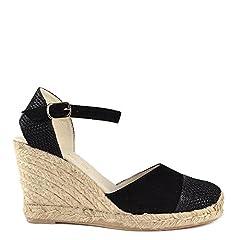 0e23047040aa Elia B Shoes Nani Black Suede Wedge Sandal