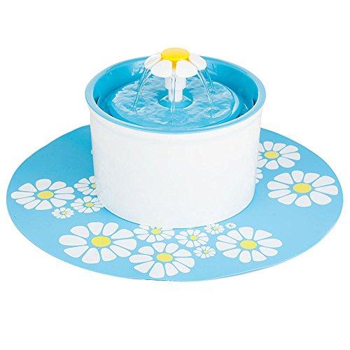 Pet Blume Brunnen, automatische elektrische Super Silent Water Pumpe mit Filter und Silikon Matte für Hunde und Katzen Vögel Papageien, 1.6l/54oz mit 3Carbon Filter, 1Matte, Blau