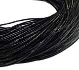Perlin 5 Meter Lederband Rund 3mm Schwarz Sand Lederschnur Rindsleder Leder Schmuckband Bastelband Bastelschnur Schmuckschnur C33