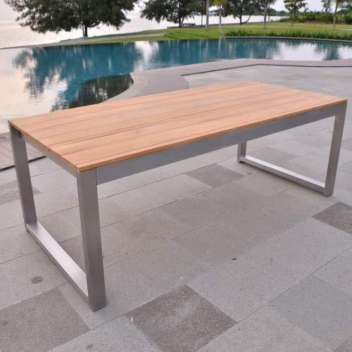 Esstisch Baitone Edelstahl Teak Massivholz Tischplatte 140 x 80 cm -