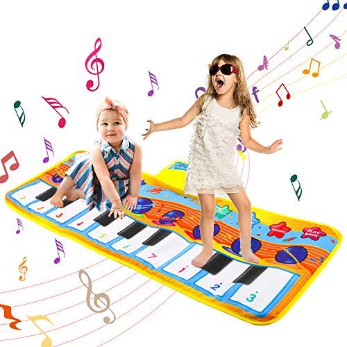Akkordeon-mädchen (LITTLE 8 Piano Matte, Baby Musikteppich Tanzmatte Musikmatte Kinder, 5 Modi & 8 Musikinstrument Touch Kriechen Klaviertastatur Faltbare Spielmatte Geschenk für Kleinkind Jungen Mädchen 80 * 28cm)
