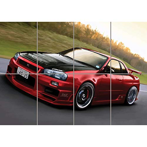 NISSAN SKYLINE R34 RED SPORTS RALLY CAR GIANT PICTURE ART PRINT POSTER PLAKAT DRUCK MR451