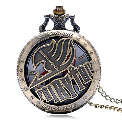 Retro Taschenuhr Bronze Design Quarz Taschenuhr für Herren Frauen Geschenk mit Halskette Kette (1)