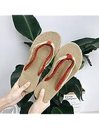 fankou Las Parejas de Verano Conjunto de Lino-Toe Zapatillas Casual Zapatillas Cool Hombres y,42,B Rojo