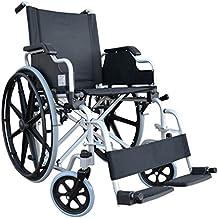 POLIRONESHOP DELO Carrozzina pieghevole sedia a rotelle in acciaio ad autospinta per disabili portatori handicap e anziani facile da trasportare e ripiegare ortopedica postoperatorio ortopediche carrozzine carrozzella economica portatile x esterni ed interni da viaggio (Nero) (Nero)