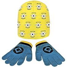 Minions 2200000361 - Set de 2 piezas con gorro y guantes para niños, color amarillo, talla única