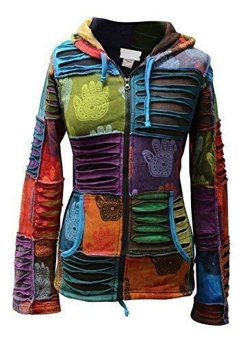 Shopoholic FASHION DAMEN mehrfarbig Henna Hand Spitz Kapuzenpulli verblichen Hippy Jacke - Mehrfarbig, Mehrfarbig, X-Large -