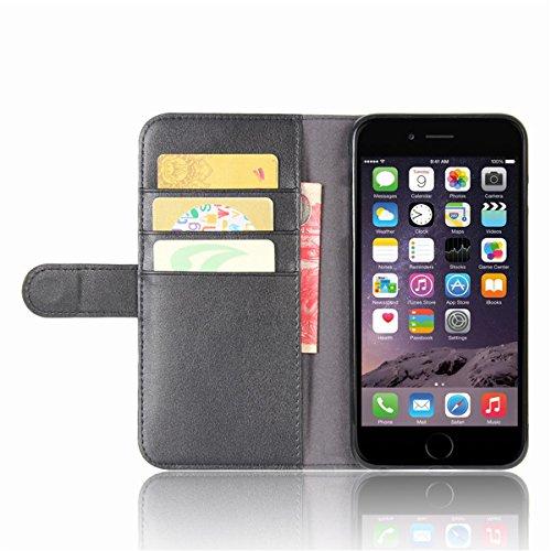 Etui en cuir véritable pour iPhone 6s Plus, Lifetrut Housse en Cuir de Portefeuille en Cuir Véritable Vintage pour iPhone 6s Plus [Brown] E201-Noir